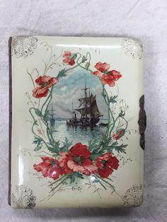 Vintage Victorian Celluloid Velvet Photo Album - ship on water - floral design !