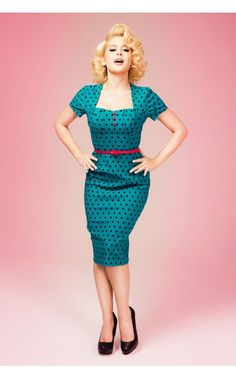 Pinup Couture- Charlotte Dress in Jade With Black Polka Dots | Pinup Girl Clothing
