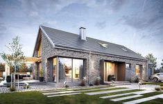 Realizacja projektu domu Maja 3 on Behance Flat House Design, Bungalow House Design, Modern House Design, House Designs Ireland, Modern Brick House, Bungalow Renovation, Long House, Barn House Plans, House Layouts
