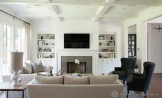 Family Room-similar shape to our Family Room. Only like the bookshelf on both sides of the fireplace.