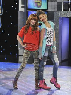 """The set for the Corny Collins Show would be very modern and similar to the stage on the Disney Channel show """"Shake it Up!"""" Very bright colors and lights--very sparkly and over the top Tween Fashion, Girl Fashion, Fashion Outfits, Disney Fashion, Bella Thorne And Zendaya, Nicky Ricky, Old Disney Channel, Zendaya Style, Nickelodeon"""