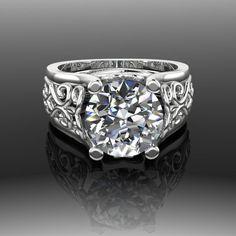 Moissanite Engagement Ring Forever Brilliant, Filigree, 3 CTW