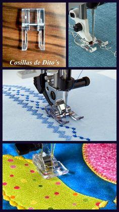 Nombres alternativos en ingles:    Blanked Stitch Presser Foot   Applique Foot   Open Toe Foot   Vienen en metal y en plastico en el ki...
