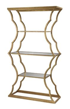 The undulating form of the Cumulus Metal Bookcase is inspired by the delicate details of Rococo architecture. The sturdy metal frame and beveled mirror shelves give the piece presence in a space witho