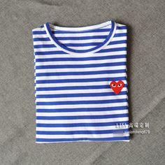 155a82d6975 Summer little red heart tide people striped short-sleeved women lovers T- shirt sea