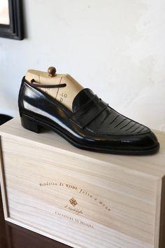 il Quadrifoglio Ostrich Leg Leather Penny Loafer