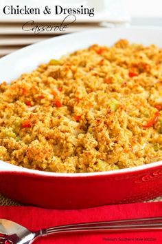 Chicken And Dressing Casserole - This down home cornbread topped chicken casserole is perfect for stretching leftovers into… Chicken And Dressing Casserole, Chicken Dressing, Cornbread Dressing, Chicken Casserole, Stuffing Casserole, Casserole Dishes, Casserole Recipes, Breakfast Casserole, Turkey Recipes