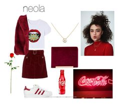 """""""neola"""" by taj-mahal ❤ liked on Polyvore featuring AlexaChung, adidas, Olivia Miller, Boohoo, Cartier, red, rose and aesthetic"""