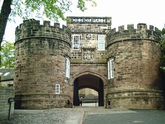 Skipton Castle, Yorkshire, U. K.  Skipton Castle, situated on a cliff above the Eller Beck, was founded circa 1090 by Robert de Romille.