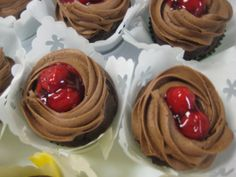Chocolate Covered Cherries filled with cherries and cream, topped with chocolate buttercream and cherries