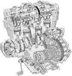 Exploded diagram of motor Motorcycle Logo, Motorcycle Engine, Mechanical Design, Mechanical Engineering, Honda Cbx, Honda Bikes, Japanese Motorcycle, Race Engines, Architecture Collage