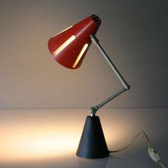 H.Th.J.A. Busquet; Enameled Metal 'Sun' Table Lamp for Hala Zeist, c1955.