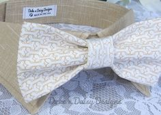 Dog Bow Tie- Doggie Bones Bow Tie w/ Khaki Collar by DukeNDaisyDesigns, $28.50 http://www.etsy.com/shop/DukeNDaisyDesigns