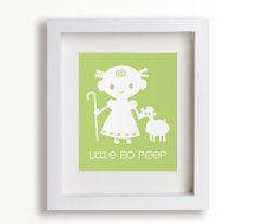 Baby's First Art Print - Little Bo Peep 8x10 - Nursery Decor, Nursery Wall Art, Children's Wall Art, Playroom Decor. via Etsy.
