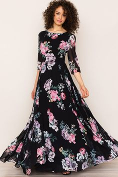 Romantic Woodstock Floral Maxi Dress With Sleeves by Yumi Kim. A floral print complements the elegant, bohemian feel of it. Details include a full-length skirt, blouson sleeves, and hidden back zip. Silk Floral Dress, Chiffon Dress, Party Wear Dresses, Party Dress, Maxi Dress With Sleeves, Modest Outfits, Designer Dresses, Fashion Dresses, Clothes For Women