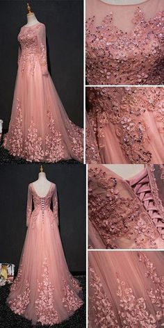 Chic a line scoop floor length pink tulle applique prom dress evening dress on storenvy vintage brown tavola teak dining table for 6 article Indian Wedding Gowns, Indian Gowns Dresses, Bridal Dresses, Evening Dresses, Prom Dresses, Formal Dresses, Engagement Gowns, Style Feminin, Reception Gown