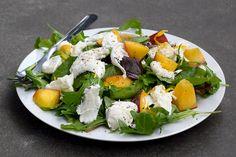 Meyer Lemon Tossed Mixed Leaves with Peaches, Mozzarella & Lemon Basil   www.rachelphipps.com @rachelphipps