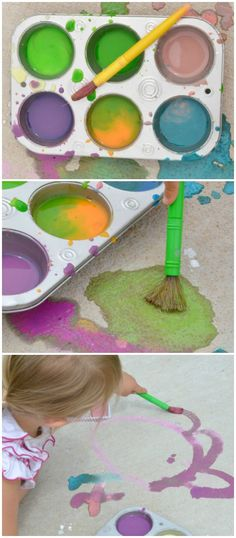3 ingredient scented sidewalk paint that is vibrant & smells amazing! Easy to make, and all the mess washes easily away after play!