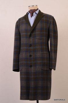 RUBINACCI Green & Blue Plaid Cashmere Reversible OverCoat Coat US 40 NEW EU 50