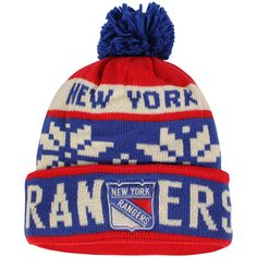 43e84e3e293 Men s New York Rangers Reebok Red Face-Off Snowflake Cuffed Knit Hat with  Pom