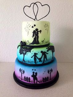 Would make a nice anniversary cake Unique Wedding Cakes, Beautiful Wedding Cakes, Beautiful Cakes, Amazing Cakes, Engagement Cookies, Silhouette Cake, Fathers Day Cake, Valentine Cake, Oreo Cake