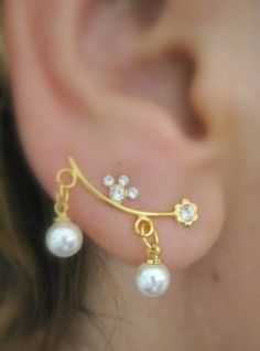 Ear Sweep Wrap - Cuff Earring Pair - Gold Filled- Pearl Dangle