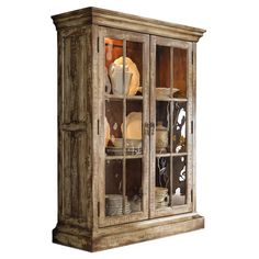 Two-door hardwood display cabinet with adjustable wood-framed glass shelves and a touch light.  Product: Display cabinet