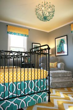 Twins nursery for a boy and girl in new york features yellow, teal, gray and dog themed wall paper. By celebrity nursery designer, Sherri Blum. Girl And Dog, Boy Or Girl, Nursery Twins, Nursery Ideas, Celebrity Nurseries, Royal Nursery, Iron Crib, New York Projects, Room Interior