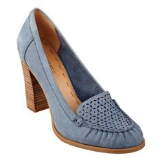 """Style, say """"hello"""" to comfort. Our Narvik high heels feature a foot-flattering round toe with perforated detailing on the vamp. Padded footbed for all-day comfort. Nubuck leather upper. Man-made lining and sole. Imported. 3 1/2 inch stacked high heels. Women's shoes. High heels and pumps."""