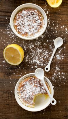 Lemon Pudding Cakes are so delicious! The batter separates into creamy pudding and airy cake.