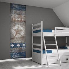 Muursticker ster roest / blauw - Stoer jongenskamer idee | Muurstickers kinderkamer decoratie | 101 kinderkamer ideeën  decoratie