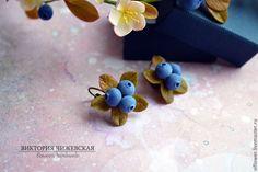 Серьги с черникой - разноцветный,серьги ручной работы,серьги с ягодами