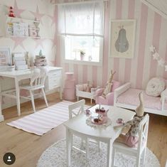 Pink and white little girl nursery