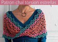 Patrones Crochet: Chal con torsion motivos estrellas