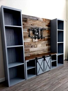 Farmhouse entertainment center rustic entertainment center farmhouse TV console Savvyfarmhouse TV console with barn doors TV unit center ideas living room diy Farm House Living Room, House, Home Projects, Home, Home Remodeling, New Homes, Living Room Entertainment, Farmhouse Entertainment Center, Farmhouse Tv Console