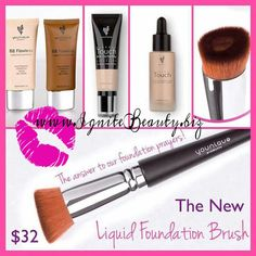 What is the one missing link to Younique's awesome line of liquid foundations? What would make our application process THAT much smoother?  Why a LIQUID FOUNDATION BRUSH of course!  This uniquely designed brush comes complete with a central recessed area, allowing you to adjust your liquid foundation coverage for a seamless application every time. You can now use your BB Creams, Liquid Foundation or our newest foundation craze, the BB Cream and Liquid Concealer combo with the best designed…