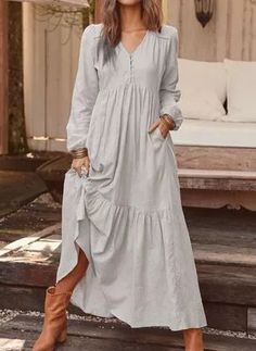 V-Neck Button Long Sleeve Pullover Plain Dress Ruffle Dress, Boho Dress, Ruffles, Floryday Vestidos, Mode Hippie, Casual Dresses, Summer Dresses, Maxi Dresses, Elegant Dresses