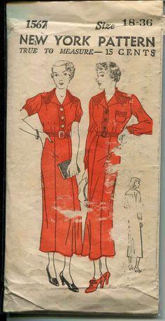 Vintage Sewing Pattern - ERA: 30s Pattern Publisher: New York Pattern Number: 1567 23634-34 23632-38 -