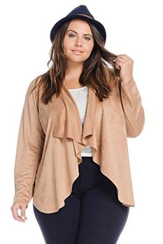Womens Plus Size Casual Trendy Mocha Open Front Long Cardigan ** Click image for more details.