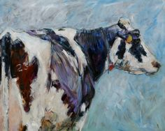 Cow painting by the Dutch artist and cow expert, Marleen Felius.