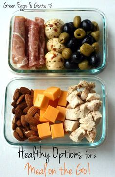 Healthy meal on the go. CHICKEN BITES, CHEDDAR CUBES, ALMONDS. next up... SALAMI, MOZZ balls, salty olives.