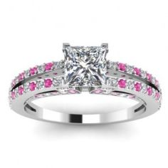 Princess Shaped Pink Sapphire & Diamond Engagement Ring - Unusual Engagement Rings Review