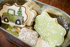 | Snickety Snacks: Beautiful Christmas set in non-traditional colors. My favorite is the truck with the tree...