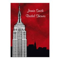 NYC ESB Skyline Silhouette Red Stry2 Bridal Shower Invitations