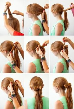 3 New Ways to Add Hair Bows to Your 'Do! Lady Gaga made them famous, and now we stare at them puzzled of how to make them. I am talking about hair bows! Not fabric hair bows, but hair bows made from the hair on your head to make a bow. Ponytail Tutorial, Hair Bow Tutorial, Bow Braid, Braid Hair, Diy Tutorial, Wedding Hairstyles Tutorial, Pretty Hairstyles, Cute Hairstyles, Beauty Tutorials