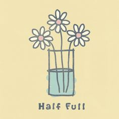 Girls' Half Full Flowers Crusher Tee|Life is good