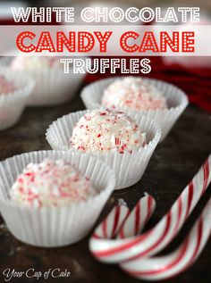 White Chocolate Candy Cane Truffles. Made them for Thanksgiving. SO GOOD!!! SO EASY!!