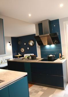 R novation cuisine bleu nocturne bleu canard gris for Cuisine bleu canard et blanc