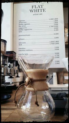 Flat White artisan cafe, Athens, Greece Artisan Cafe, Café Espresso, Homemade Desserts, White Flats, Matcha, Coffee Maker, Kitchen Appliances, Athens Greece, Coffee Maker Machine
