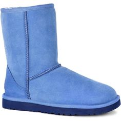 UGG Women's Classic Short Skyline Boots ($130) ❤ liked on Polyvore featuring shoes, boots, ankle booties, blue, low-heel boots, blue booties, blue ankle booties, ugg booties and patent leather boots